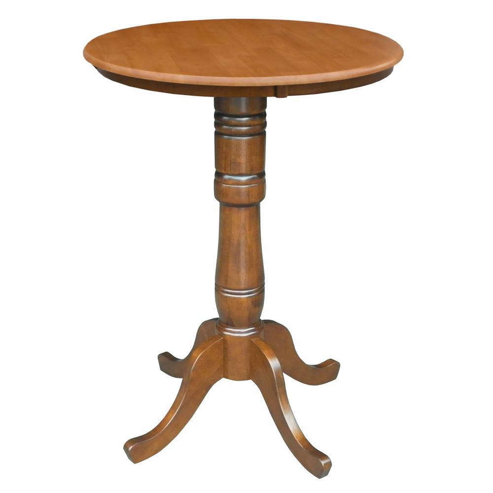 International Concepts Cinnamon and Espresso Solid Wood Pub/Bar Table K58-30RT-6B-2