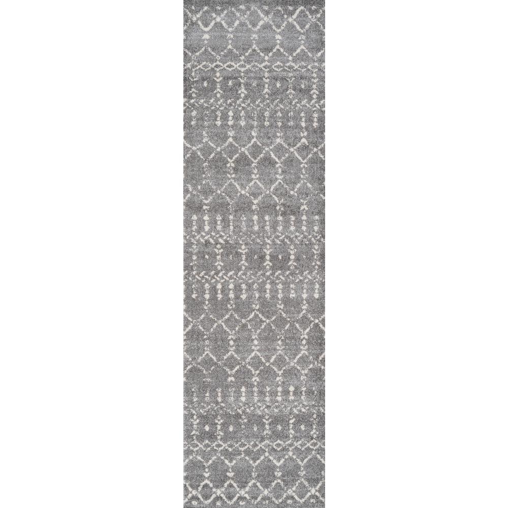 Moroccan Hype Boho Vintage Diamond Gray/Ivory 2 ft. x 8 ft. Runner Rug