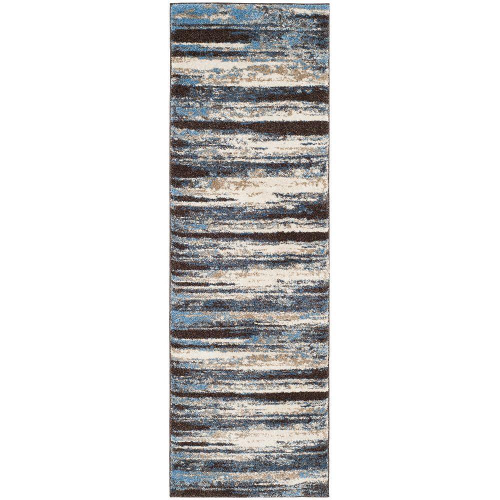 Retro Cream/Blue 2 ft. x 7 ft. Runner Rug