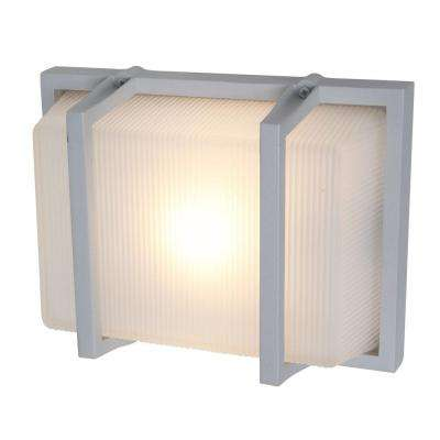 Neptune 1-Light Satin Metal Outdoor Sconce with Ribbed Frosted Glass Shade