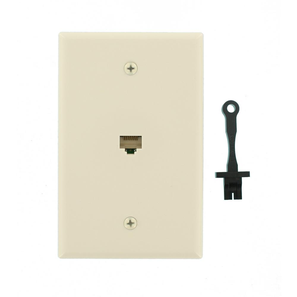 Leviton Cat5e Data Mid-Sized Wall Plate, Light Almond