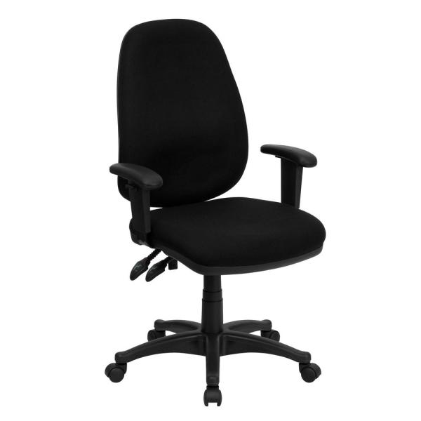 Flash Furniture High Back Black Fabric Executive Ergonomic Swivel Office Chair With Height Adjustable Arms Bt661bk The Home Depot
