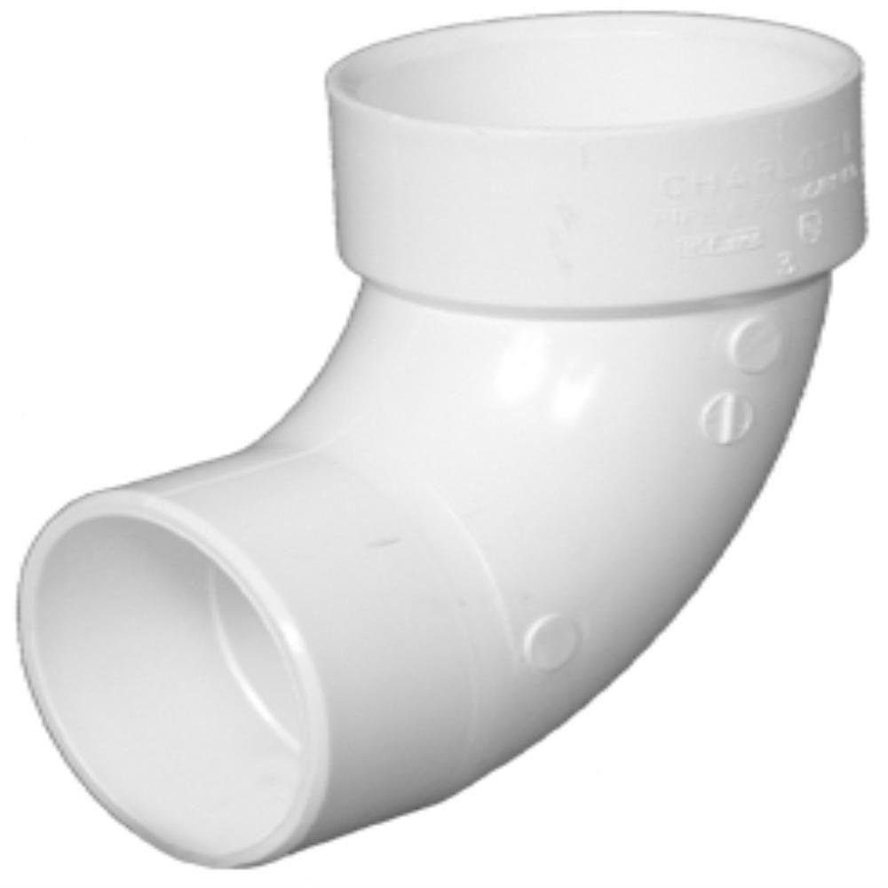 6 in. PVC DWV 90-Degree SPG x Hub 1/4 Bend Street Elbow