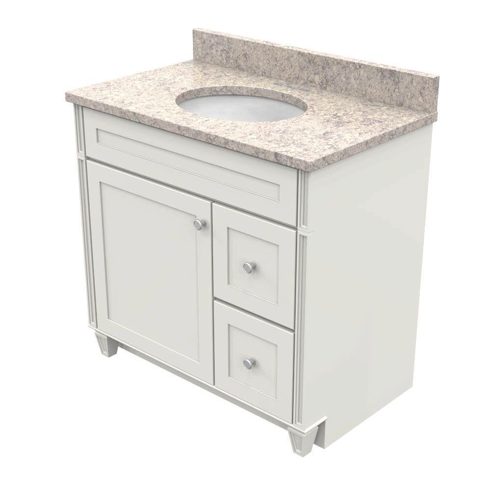 Kraftmaid 36 In Vanity Dove White With Natural Quartz Top Shadow Swirl