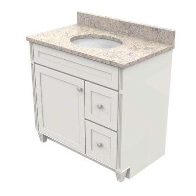 vanity in dove white with natural quartz vanity top in shadow swirl and - Bathroom Cabinets Kraftmaid