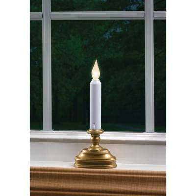 8.5 in. Warm White LED Standard Battery Operated Candle with Antique Brass Base