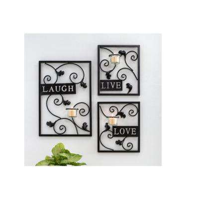 Live, Laugh, Love Espresso Wall Decor with Tealight Sconce