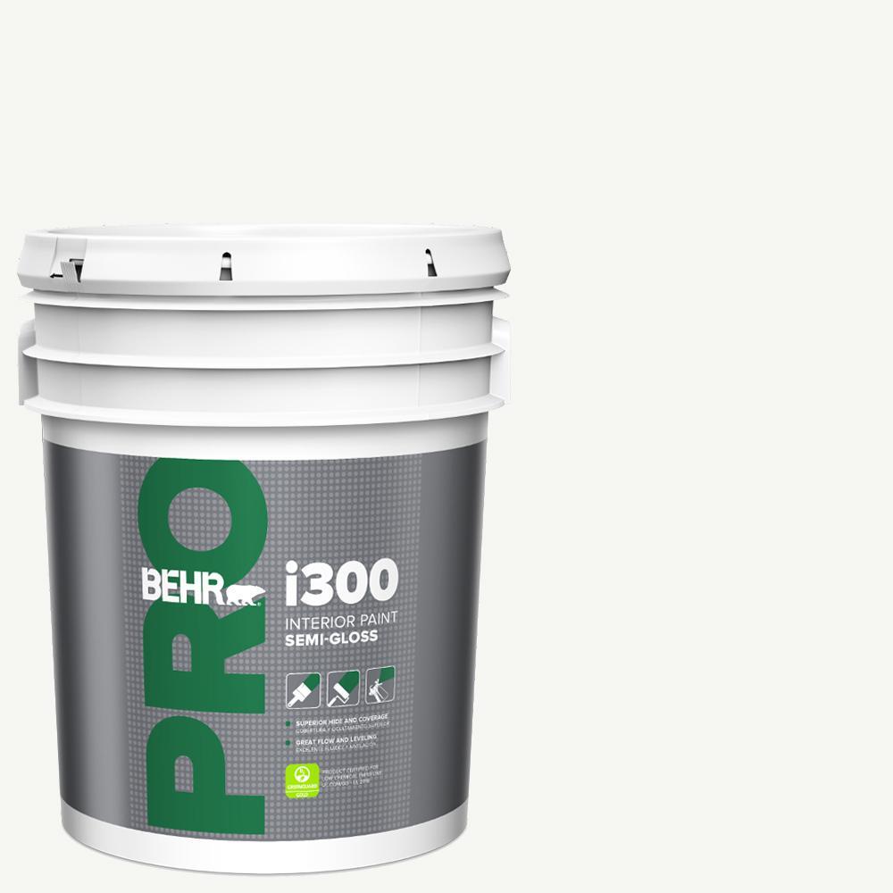 Behr Pro 5 Gal I300 White Semi Gloss Interior Paint Pr37005 The Home Depot