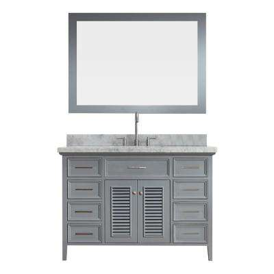 Kensington 49 in. Bath Vanity in Grey with Marble Vanity Top in Carrara White with White Basin and Mirror