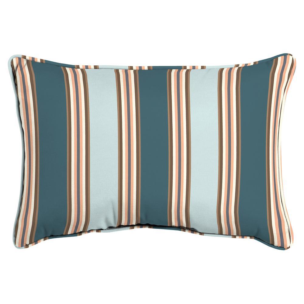 Hampton Bay Charleston Stripe Oversized Lumbar Outdoor Throw Pillow