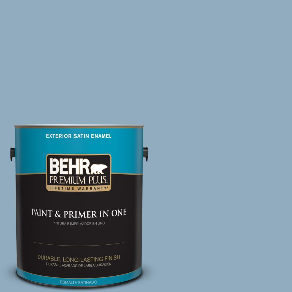 1-gal. #BIC-10 Cotton Denim Satin Enamel Exterior Paint