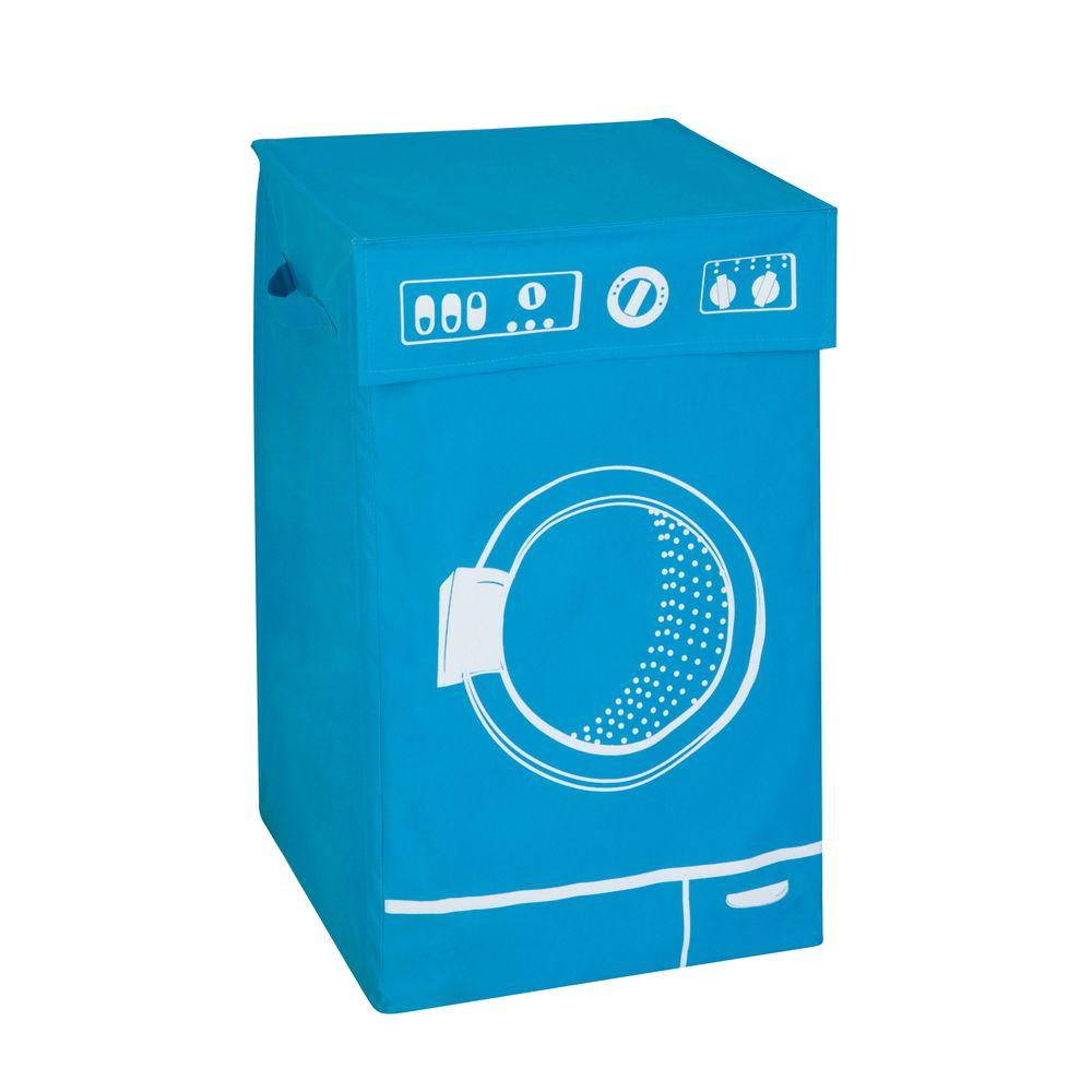 Honey-Can-Do Washing Machine Graphic Hamper in Blue