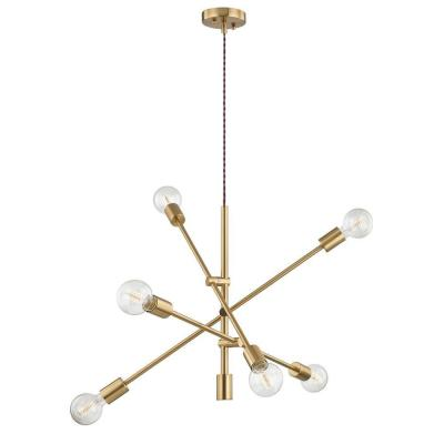 6-Light Gold Unique Modern Linear Chandelier Pendant