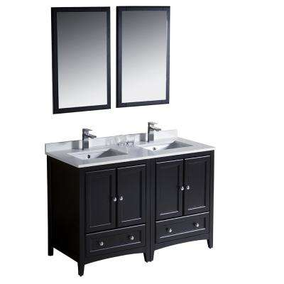 Warwick 48 in. Bathroom Double Vanity in Espresso with Quartz Stone Vanity Top in White with White Basin and Mirrors