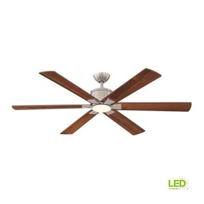 f6269053444 Renwick 60 in. Integrated LED Indoor Brushed Nickel Ceiling Fan with
