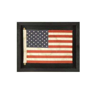 16-3/4 in. L x 13-1/4 in. H MDF Framed Fabric USA Flag