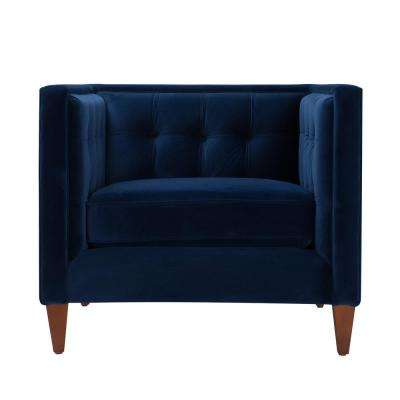 Tufted Arm Chair Blue Accent Chairs Chairs The Home Depot