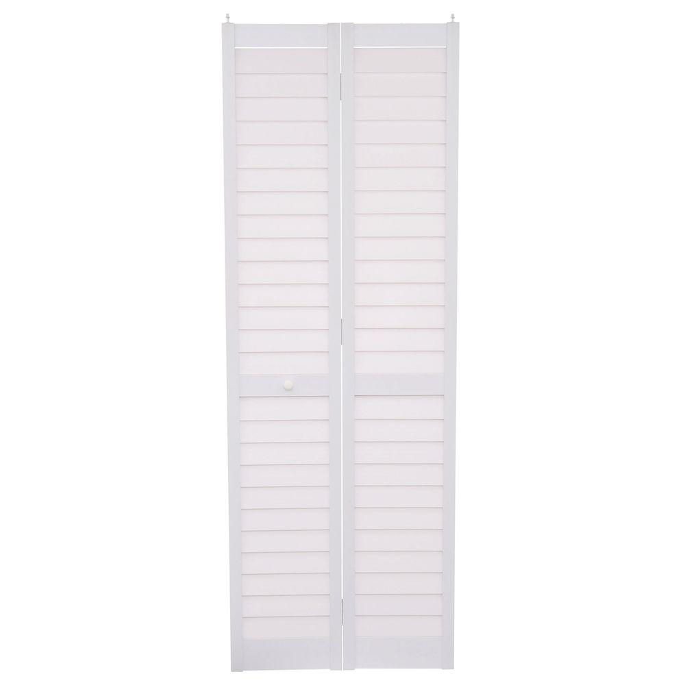 Bi fold doors for bathroom - Home Fashion Technologies 28 In X 80 In 3 In Louver Louver White Pvc Composite Interior Bi Fold Door 7302880100 The Home Depot