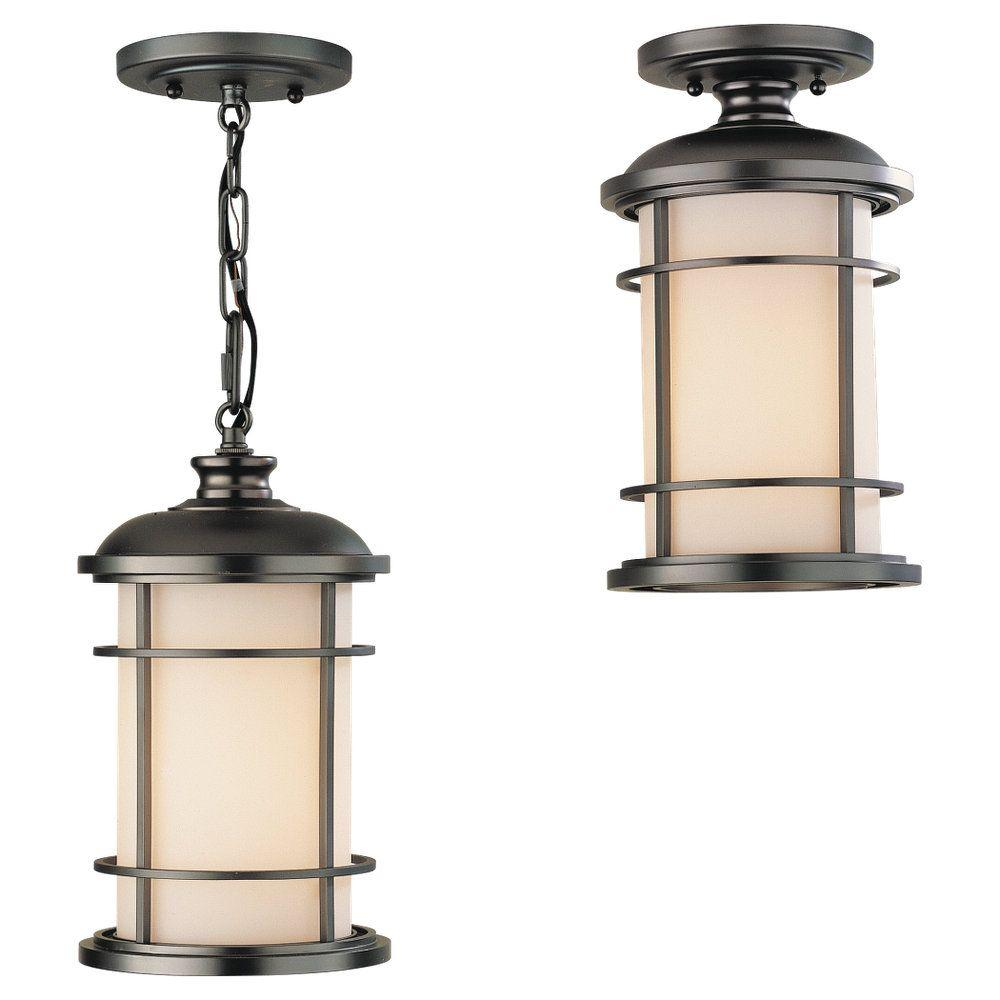 Feiss Lighthouse 1-Light Burnished Bronze Outdoor Hanging Pendant