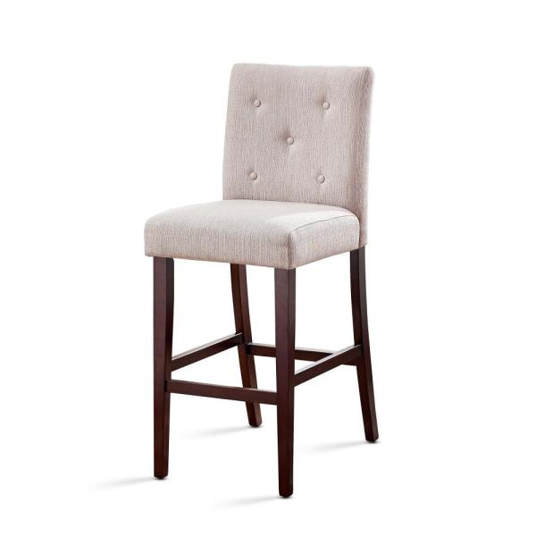 American Woodcrafters Evie 25 in. Ivory Tufted Back Counter Stool B2-175-25F