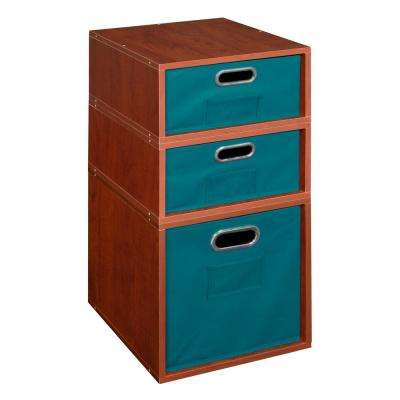 Cubo 13 in. x 26 in. Cherry 1 Full-Cube and 2 Half-Cube Organizer with Teal Foldable Storage Bins
