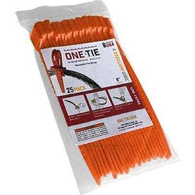 8 in. Cable Ties, Orange (25-Pack)
