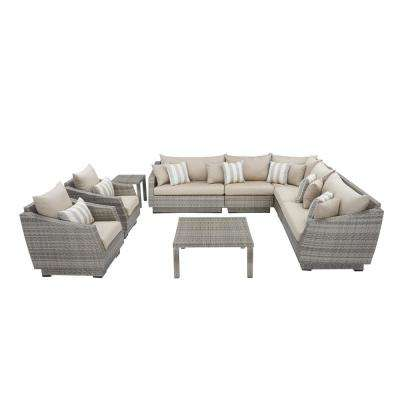 Cannes 9-Piece Patio Corner Sectional and Club Chair Seating Group with Slate Grey Cushions