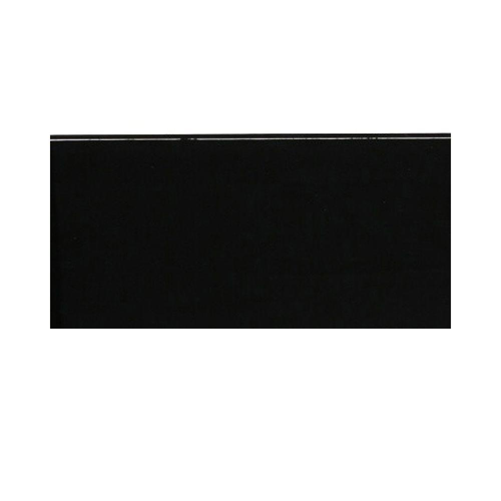Splashback Tile Contempo Classic Black Polished Glass Tile - 3 in. x 6 in. Tile Sample-DISCONTINUED