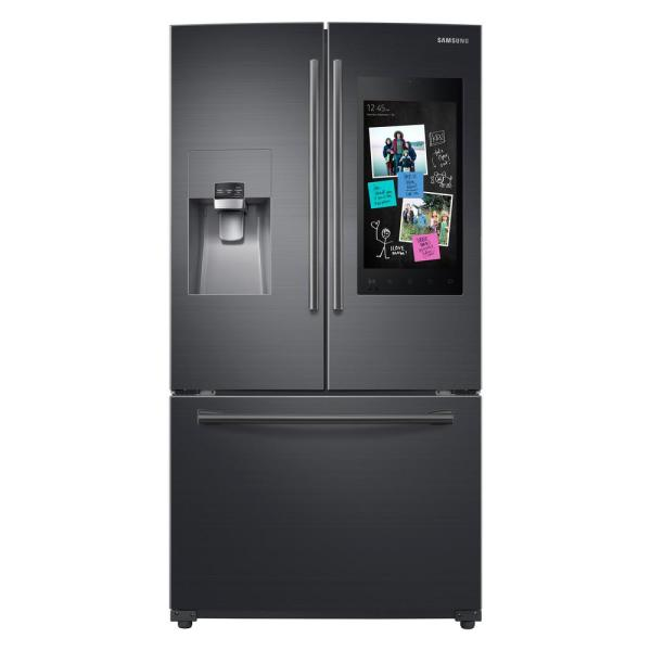 Samsung 24.2 cu. ft. Family Hub French Door Smart Refrigerator in Black Stainless