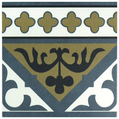 Majestic Orleans Cenefa Blue Encaustic 9-3/4 in. x 9-3/4 in. Porcelain Floor and Wall Border Tile