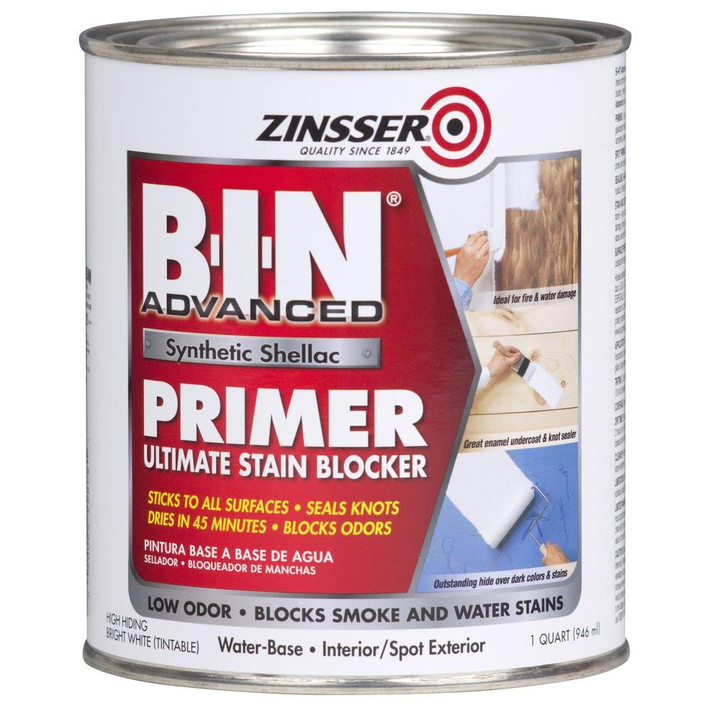 Zinsser B-I-N Advanced 1 qt. White Synthetic Shellac Interior/Spot Exterior Primer and Sealer (4-Pack)
