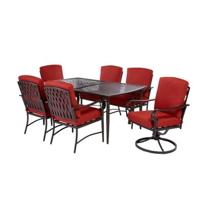 Oak Cliff 7-Piece Brown Steel Outdoor Dining Set w/4 Stationary & 2 Swivel Chairs & CushionGuard Chili Red Cushions