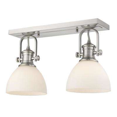 Hines 17.88 in. 2-Light Pewter with Opal Glass Semi-Flush Mount