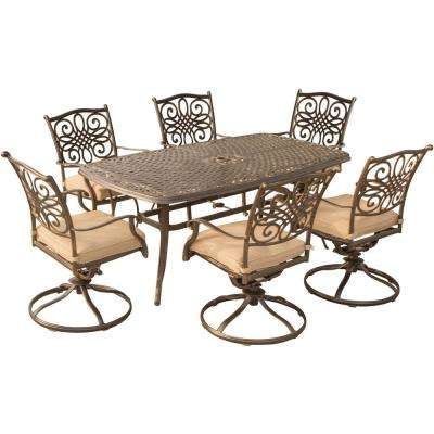 Seasons 7-Piece Aluminum Outdoor Dining Set with Tan Cushions Table and Swivel Rockers