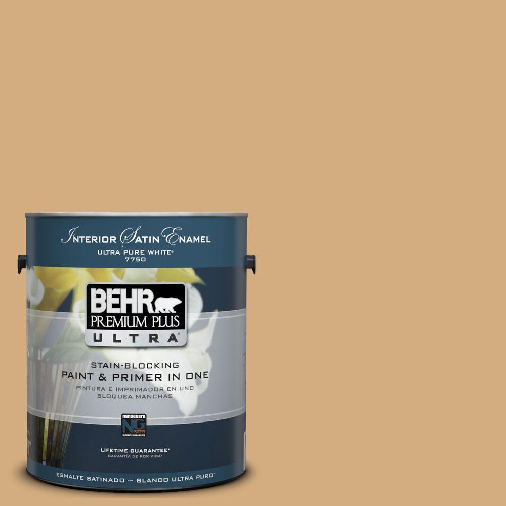 BEHR Premium Plus Ultra 1-Gal. #UL160-4 Spiced Cashews Interior Satin Enamel Paint