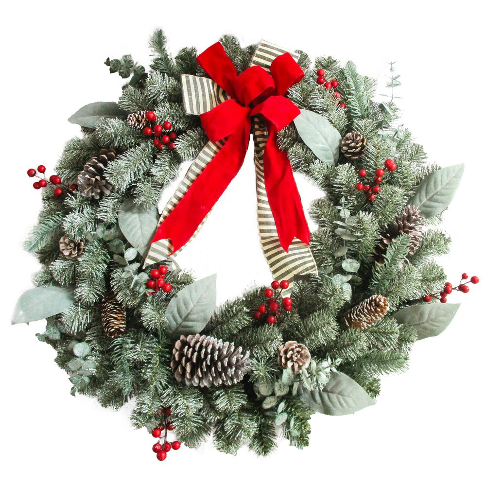 30 in. Unlit Artificial Christmas Wreath with Snowy Leaves and Bows