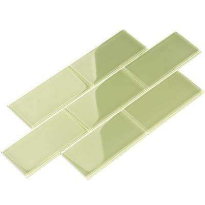 Light Olive 3 in. x 6 in. x 8 mm Glass Subway Tile (5.5 sq. ft./case)