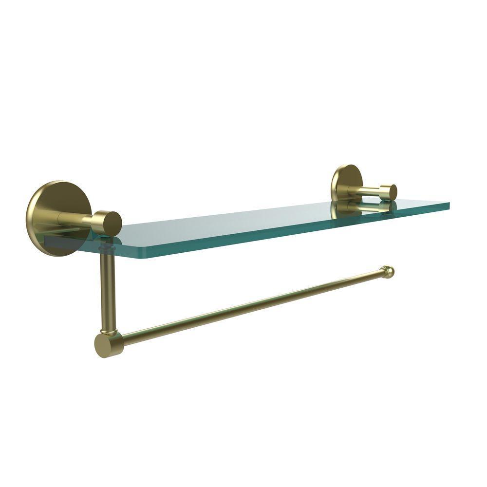Prestige Skyline 22 in. L  x 5 in. H  x 5 in. W Paper Towel Holder with Clear Glass Shelf in Satin Brass