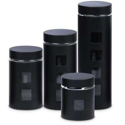 PureLife 4-Piece Glass Canister Set in Black
