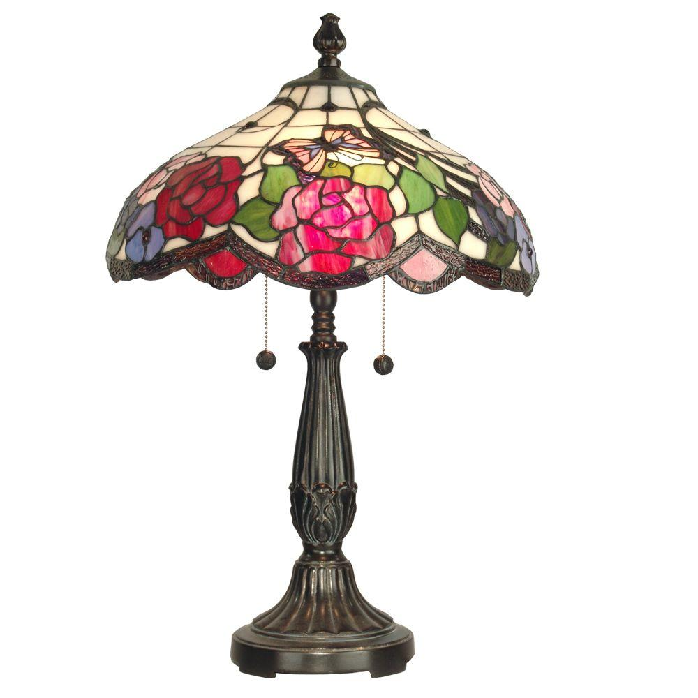 Dale Tiffany Butterfly Rose 24 in. Antique Golden Sand Art Glass Table Lamp-DISCONTINUED