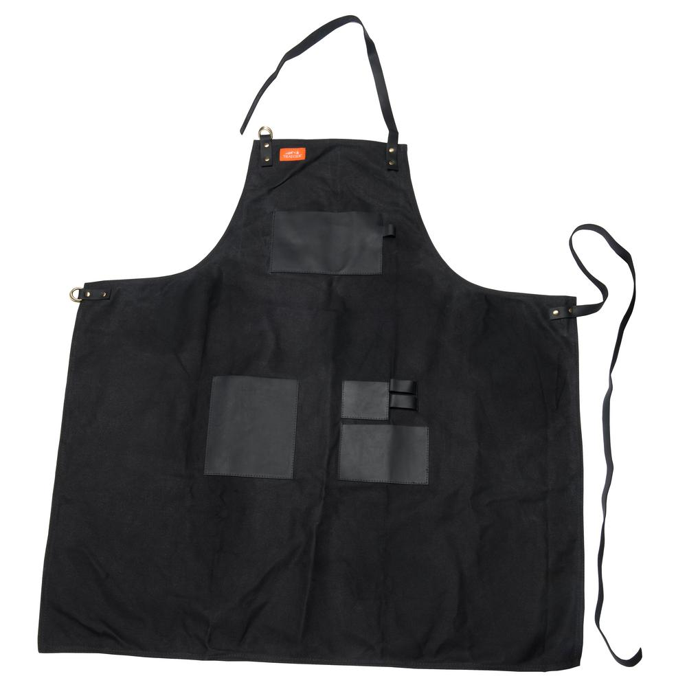 Traeger Apron Black Canvas Amp Leather Xl App156 The