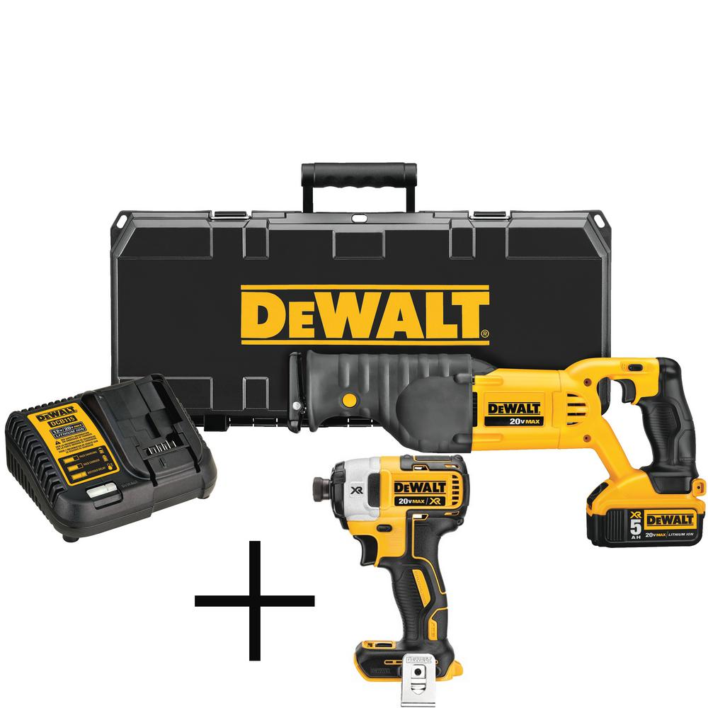 DEWALT 20-Volt MAX XR Lithium-Ion Cordless Reciprocating Saw, Battery 5 Ah, Charger and Case with Free Impact Driver