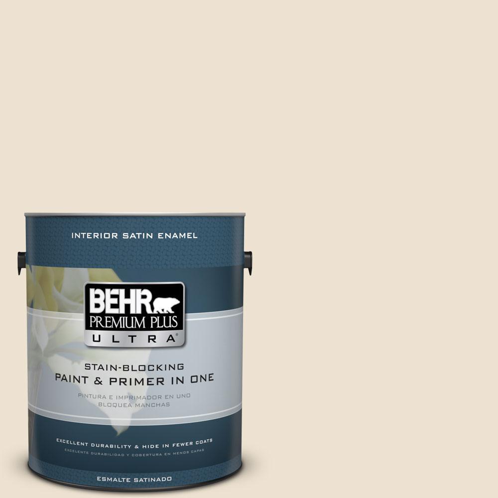 BEHR Premium Plus Ultra 1-Gal. #PPU7-15 Ivory Lace Satin Enamel Interior Paint