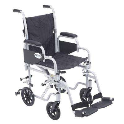 16 in. Poly Fly Transport Wheelchair with Swing Away Footrest