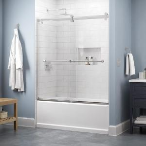 Lyndall 60 x 58-3/4 in. Frameless Contemporary Sliding Bathtub Door in Chrome with Clear Glass