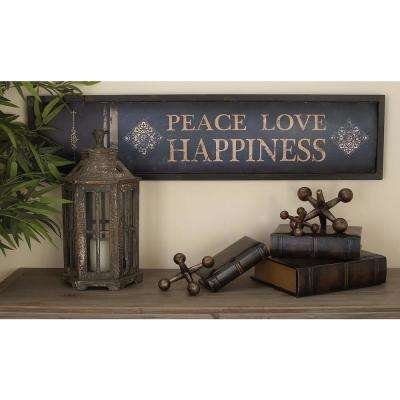 11 in. x 45 in. Shabby Chic Rustic Iron Book Spine Metal Wall Panels (Set of 3)