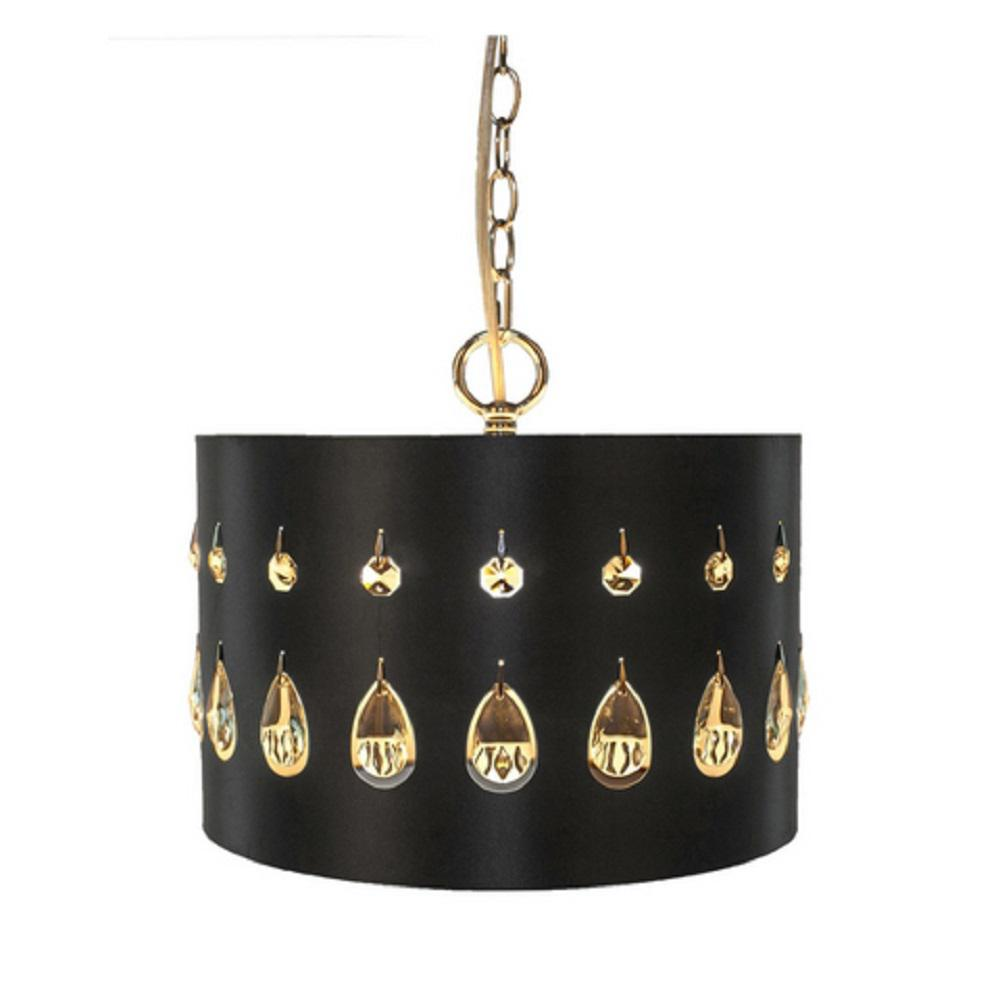 River of Goods 1-Light Black Pendant with Crystal Glass