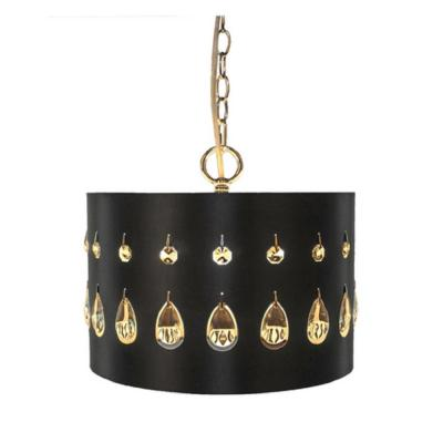1-Light Black Pendant with Crystal Glass
