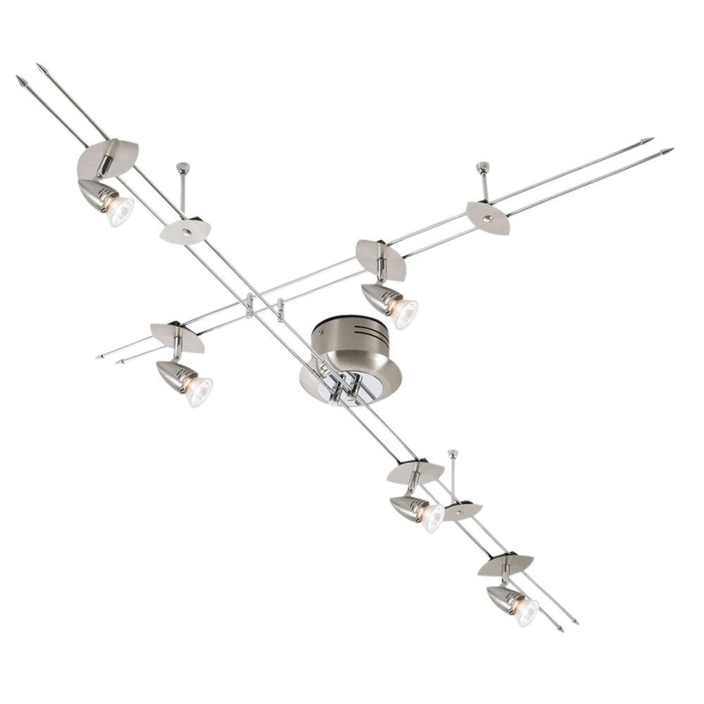 Eglo Drive 5-Light Surface Mount Matte Nickel and Chrome Suspended Track Lighting Fixture