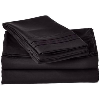 1500 Series 3-Piece Black Triple Marrow Embroidered Pillowcases Microfiber Twin XL Size Bed Sheet Set